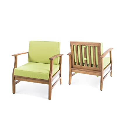Amazon Com Pearl Outdoor Teak Finished Acacia Wood Club Chairs With