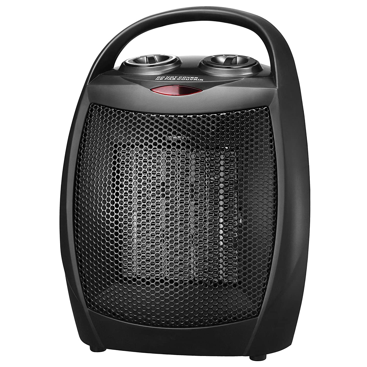 andily Portable Ceramic Space Heater for Home and Office Indoor Use with Adjustable Thermostat Overheat Protection and Carrying Handle ETL Listed, 750W 1500W