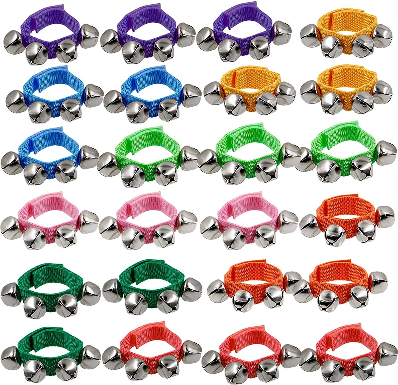 해피 트리 밴드 손목 벨 9 손목 떨고 징글 벨 어린이를위한 조정 가능한 발목 벨 장난감 24 개