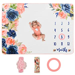 Sweetest Memories Baby Monthly Milestone Blanket | Photo Blanket for Newborn Girl Shower | Month Blanket Nursery Decor | Baby Growth Chart | Pink Floral Headband Bows + Frame