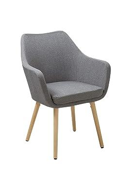 Silla de Comedor de Tela (Lino) o de Cuero sintético Gris diseño Retro sillón con Brazos Silla tapizada Vintage con Patas de Madera seleccion de Color ...