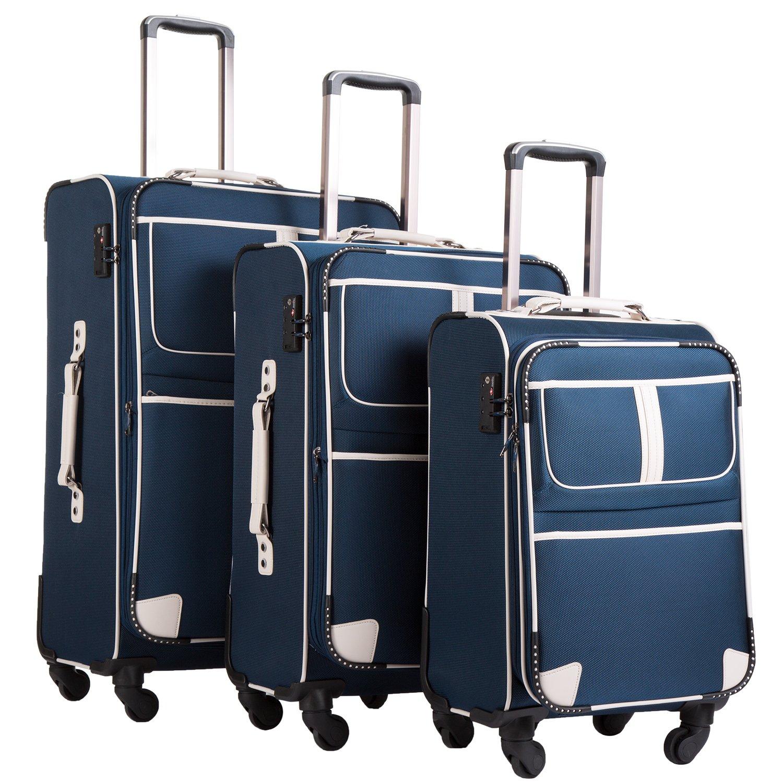 Coolife Luggage 3 Piece Set Suitcase Expandable TSA lock pinner softshell