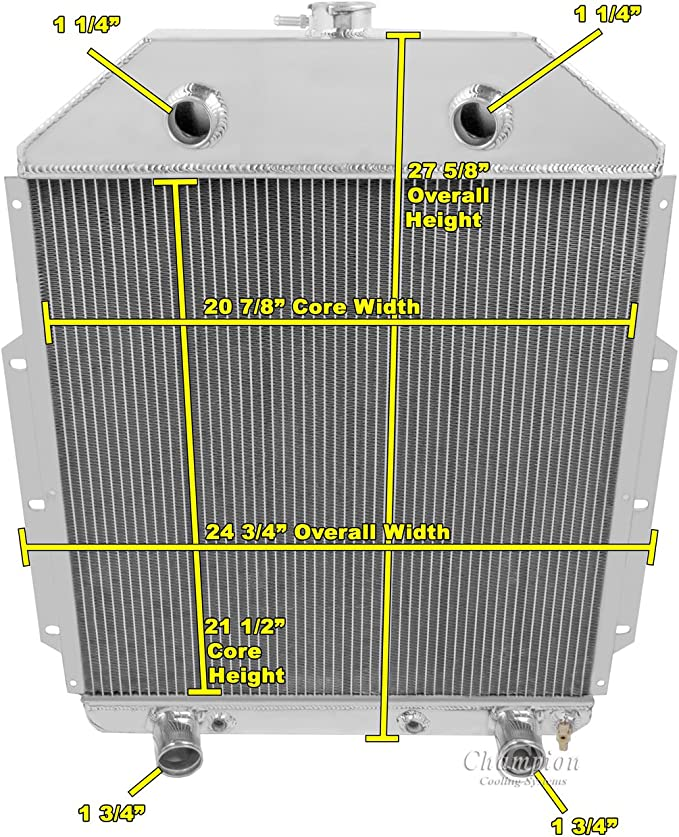 1942-1952 Ford Truck with Flathead Config 3 Row Core Alum Radiator