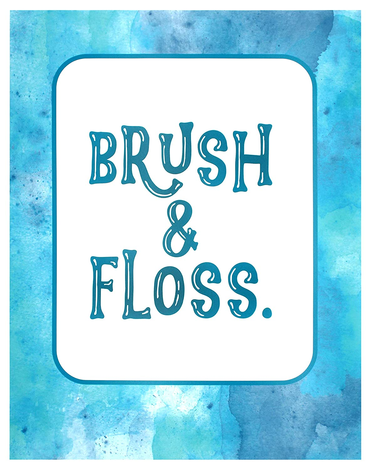 Brush and Floss, 11x14 Unframed Art Print, Wall Decor, Great Gift for Dentist or Dental Student, Fun Office or Kid Bathroom Decor