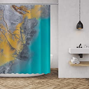 IFUNSEA Bathroom Shower Curtain Decor Mountains and Rivers Easy Care Durable Waterproof Fabric Shower Curtain 72 x 72 Inches