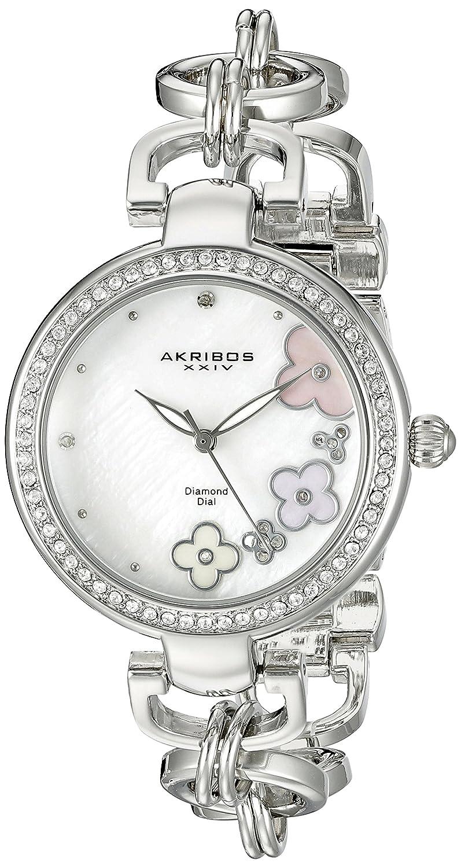 Akribos XXIV Women 's ak874ssラウンドホワイト母のパールダイヤルThree Hand Quartz Strap Watch B0145FY7UY