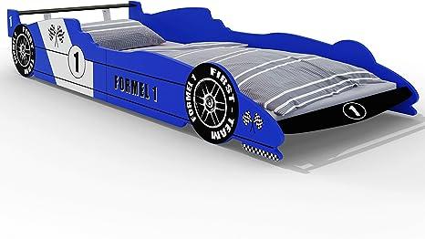 Deuba Cama infantil fórmula uno de Madera 90x200cm con somier auto color Azul para niños borde de protección moderno