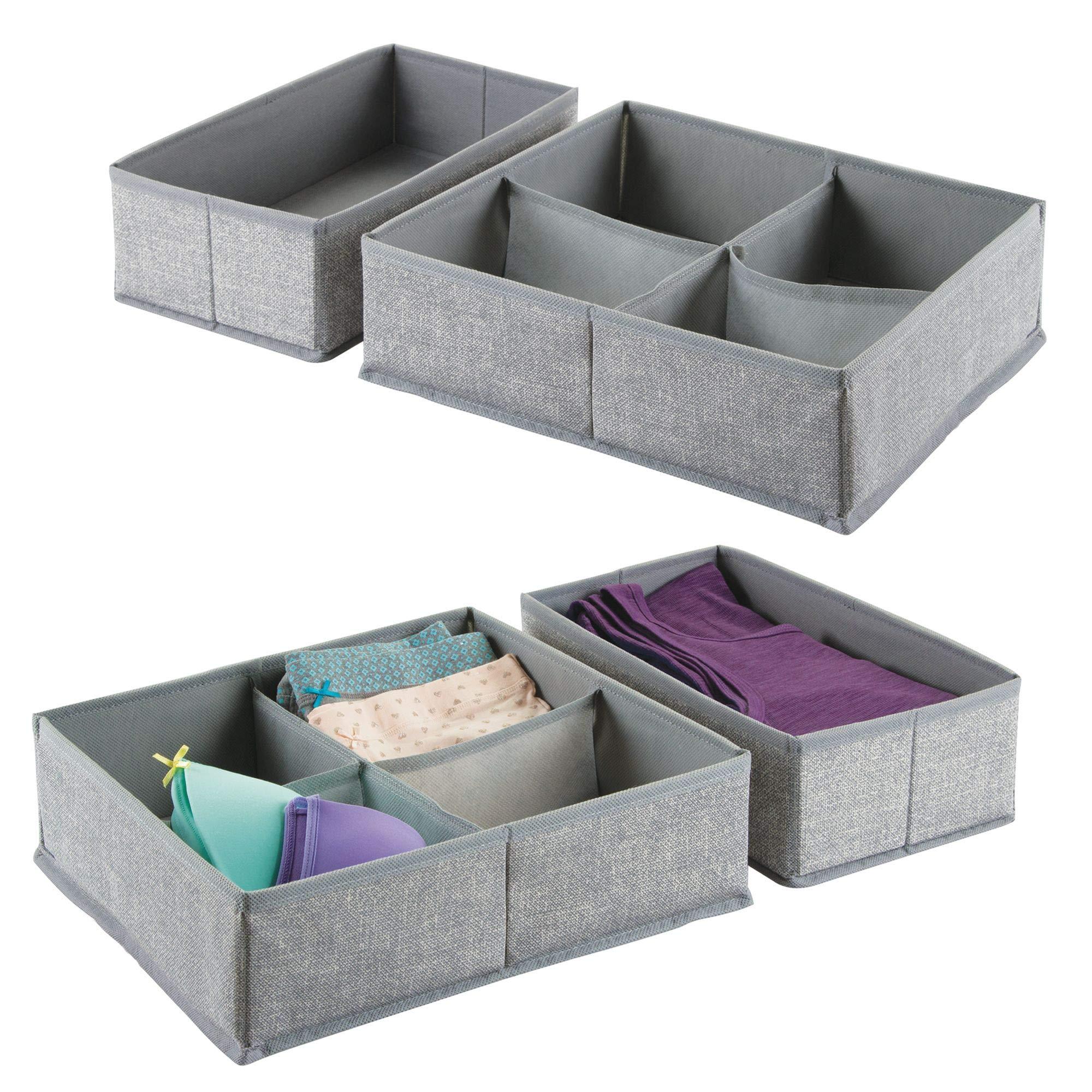 mDesign Soft Fabric Dresser Drawer and Closet Storage Organizer Bin Set for Bedroom Closet, Dresser Tops, Drawers � 4 Organizing Bins - Set of 4, Textured Print in Light Gray