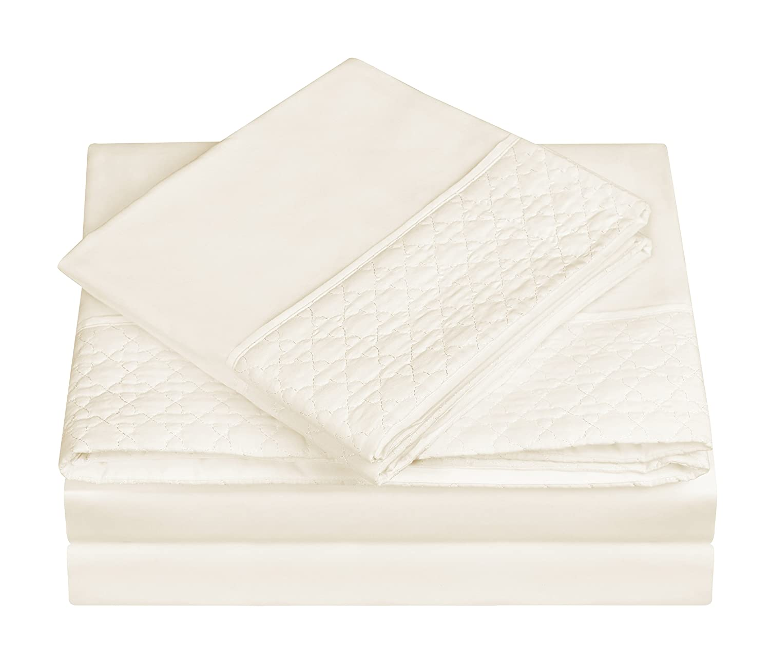 "Swift Home Quilted Hem Easy Care Brushed Microfiber Bed Sheet Set, Soft & Durable. Hypoallergenic, Wrinkle & Fade Resistant. Quilted 4"" Design on Flat Sheet and Pillowcases - Queen, Ivory"
