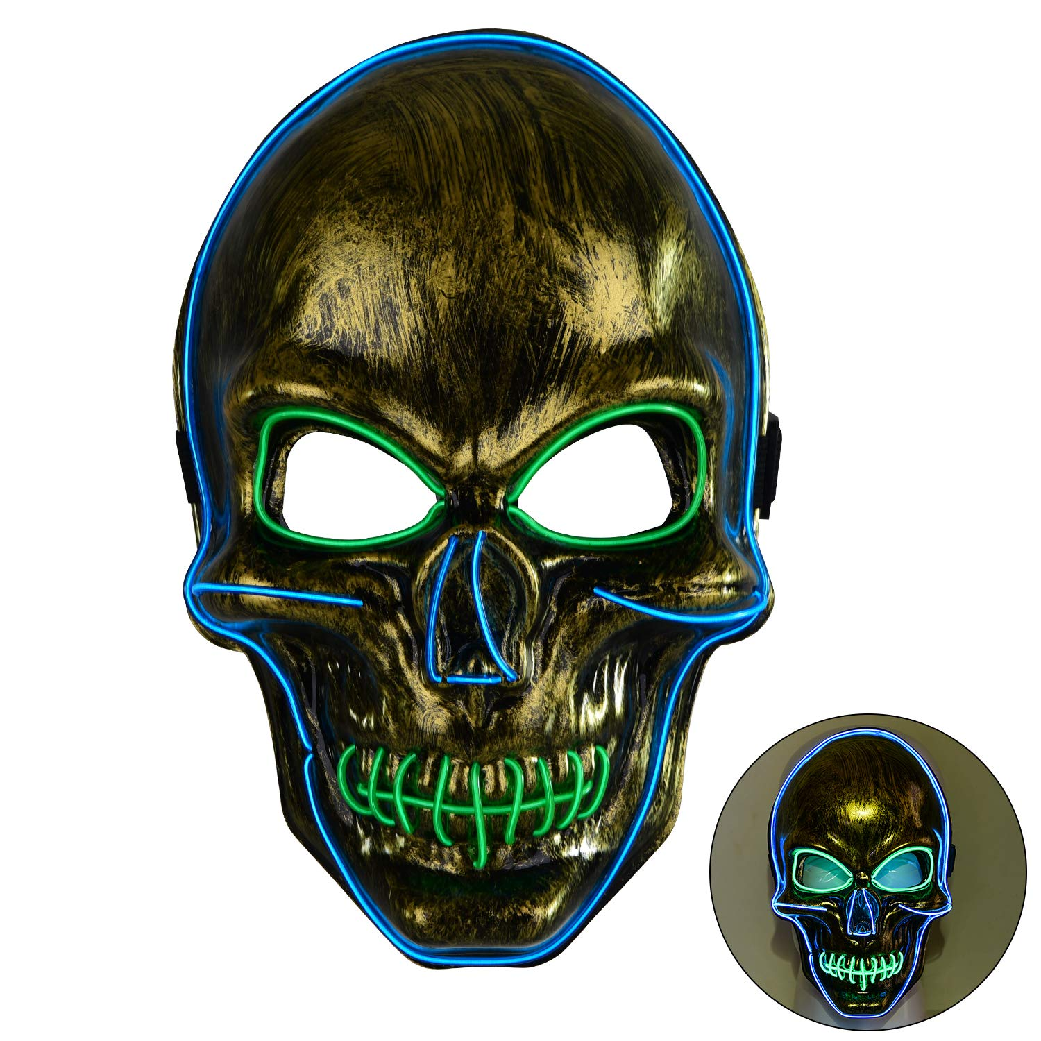 LED Halloween Mask,Scary mask with LED Light,Cosplay Glowing mask for Halloween Festival Party Gold