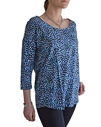 e0a8b4ace35 Teal Purple Spotted Tunic Stretch Jersey Top Long Sleeve Crew Neck Size 10:  Amazon.co.uk: Clothing