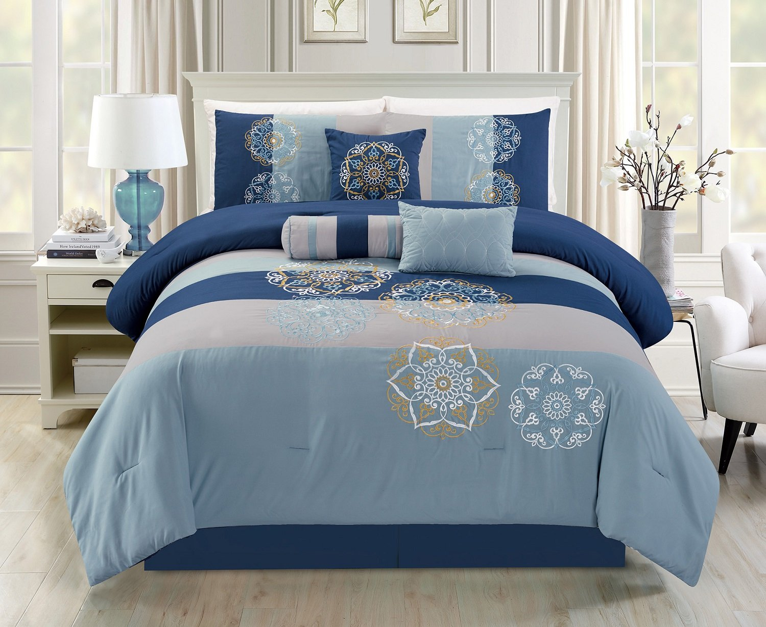 Modern 7-piece 2-tone Blue and Gray Floral Embroidery Bedding Comforter Set