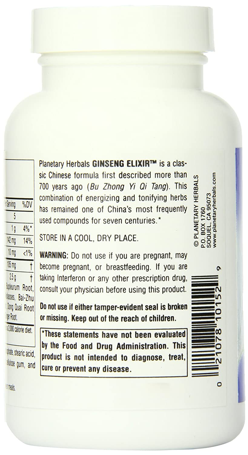 Planetary Herbals Ginseng Elixir Tablets, 120 Count