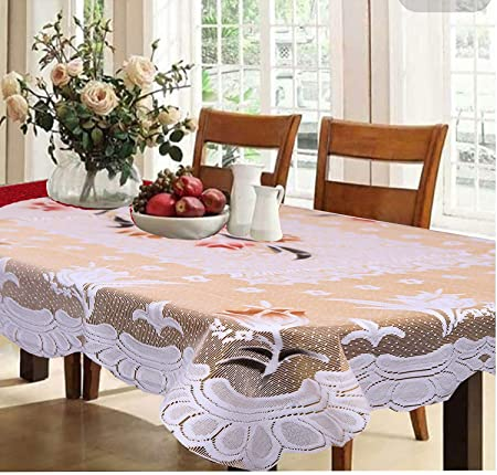 Kuber Industries Cotton 6 Seater Dining Table Cover - Cream Table Cloths at amazon