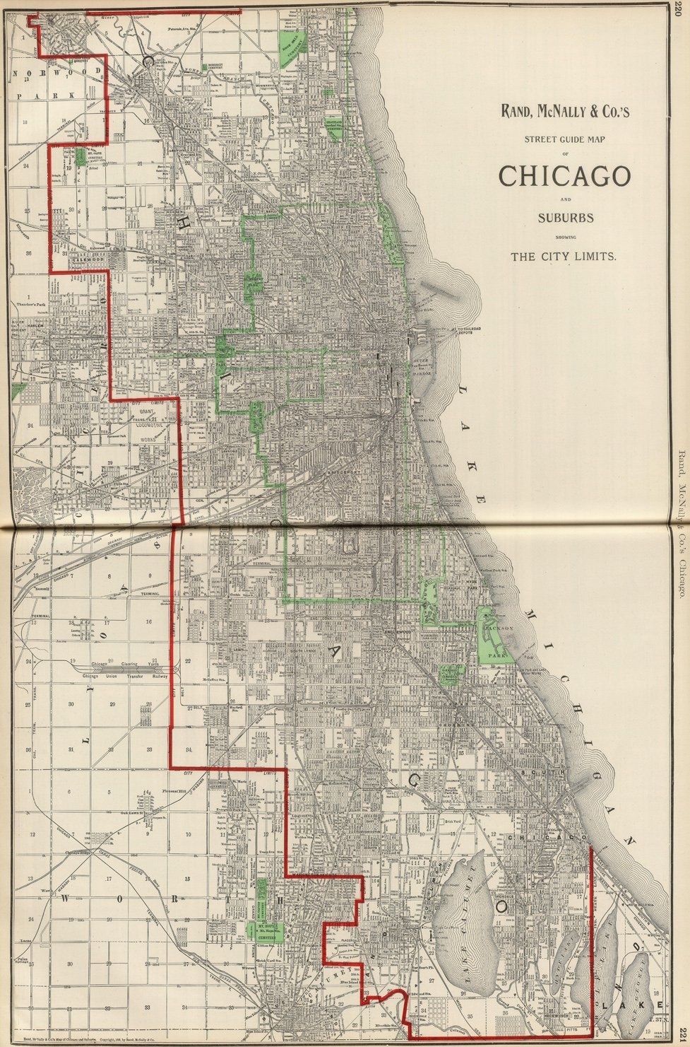 Amazon.com: Map Poster - Chicago and Suburbs. - 24