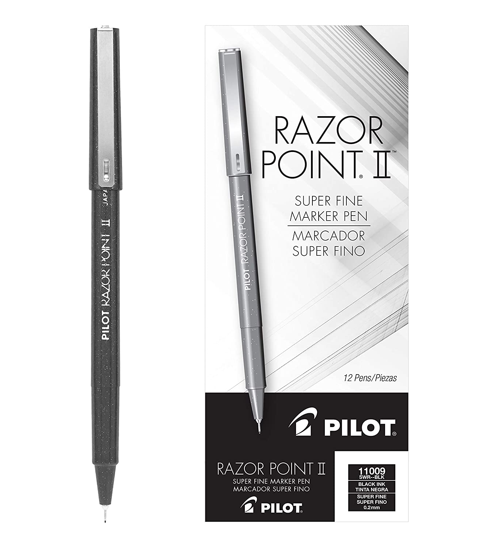 B0006HUGQU PILOT Razor Point II Fine Line Marker Stick Pens, Super Fine Point (0.2mm) Black Ink, 12 Count (11009) 81GR9wleb4L