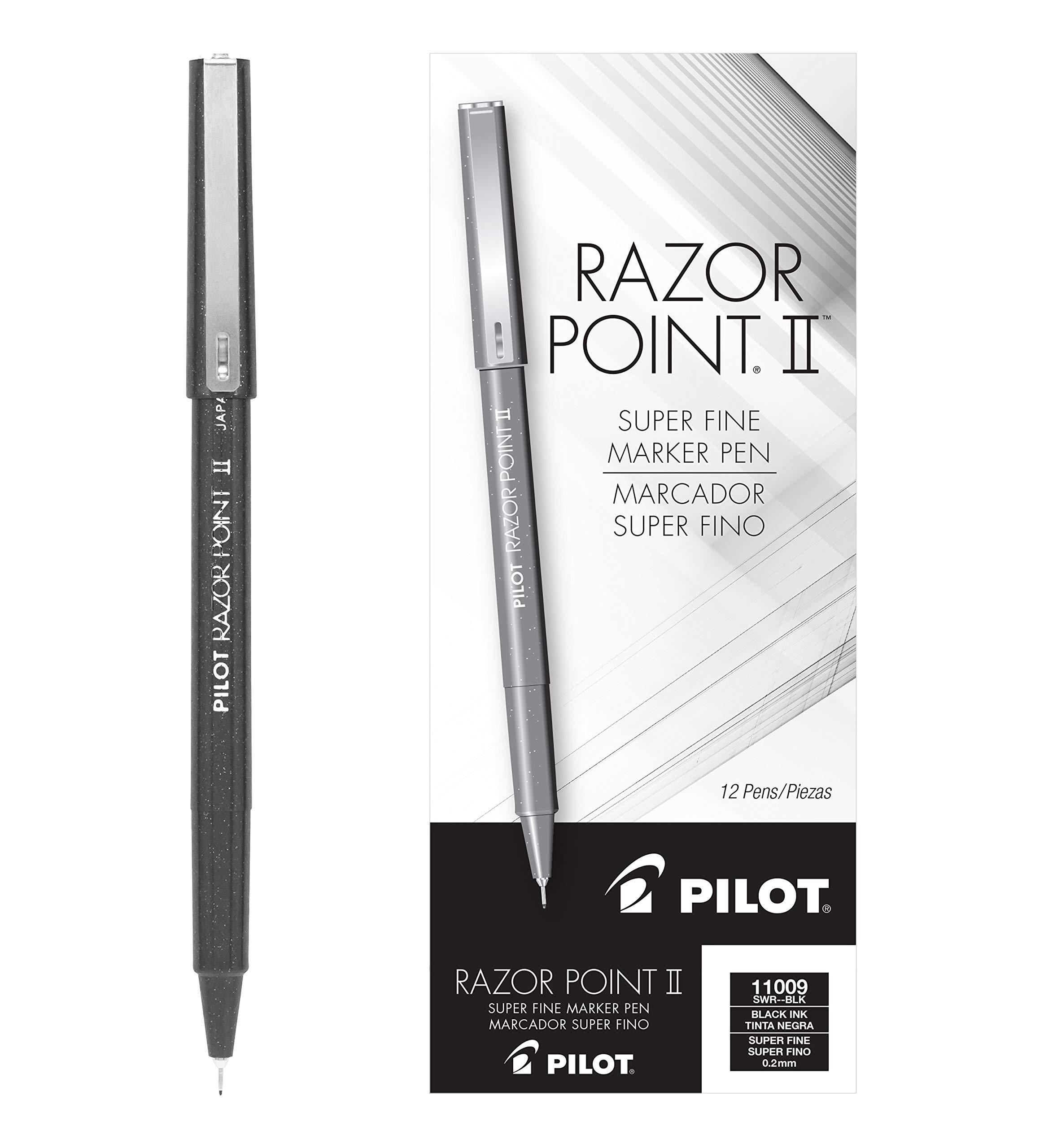 PILOT Razor Point II Fine Line Marker Stick Pens, Super Fine Point (0.2mm) Black Ink, Dozen Box (11009) by Pilot