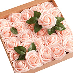 Ling's moment Artificial Flowers 50pcs Blush Roses w/Stem for DIY Wedding Bouquets Centerpieces Bridal Shower Party Home Decorations
