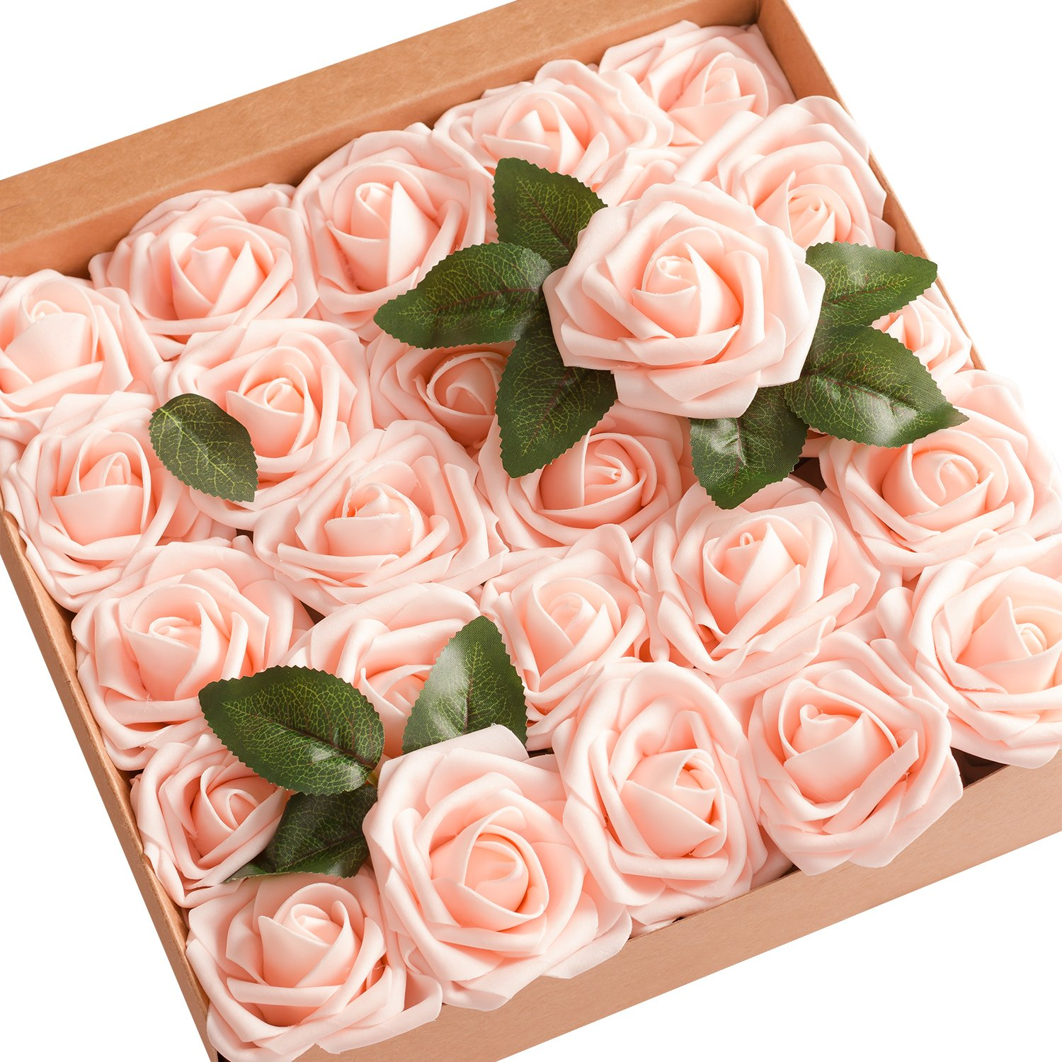 Ling Moment Artificial Flowers Blush Pink Roses 25pcs Real Looking