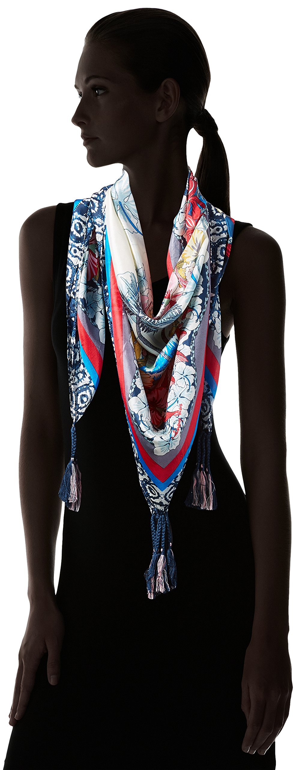 Johnny Was Women's Patterned Silk Square Scarf with Tassels, Vacation Multi O/S by Johnny Was (Image #3)