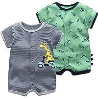 Baby pojkar sommar sparkdräkt – djur pyjamas kortärmad jumpsuit bomull bodysuit set spädbarn lekdräkt sovdräkt för…