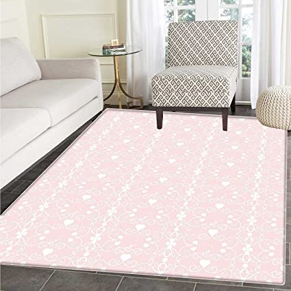 Amazon.com: Pink and White Area Mat Carpet Victorian Style ...