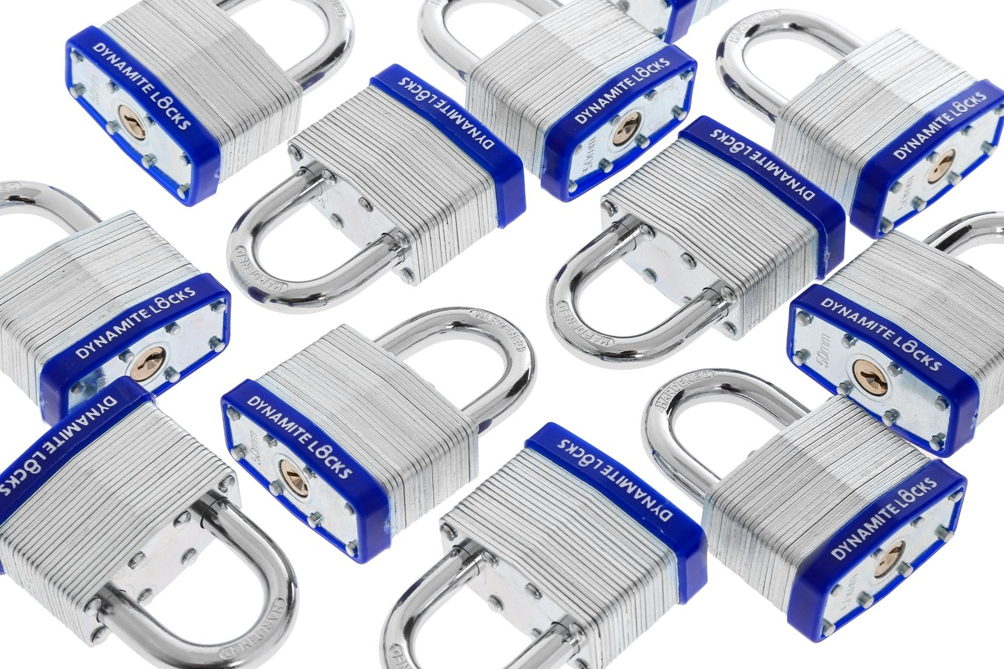 48 PC PIECE SET 50MM HEAVY DUTY DYNAMITE LOCKS KEYED ALIKE PAD LOCKS SHORT SHACKLE LAMINATED PADLOCK KEY ALIKE COMMERCIAL GRADE MULTIPLE PAD LOCKS KEYEDALIKE ALL THE SAME PADLOCKS ... by Dynamite Locks