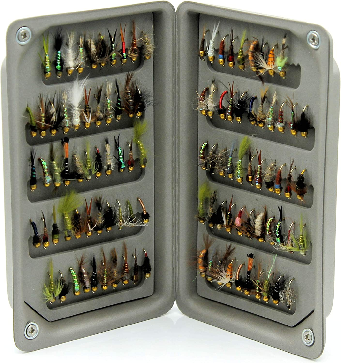 50 25 Lakeland Fishing Supplies Ultra leichte High Density Eva Foam-Fliegenbox 100 oder 208 x Mix Gold Head Nymphe Fliegen f/ür Forellenfischen 10