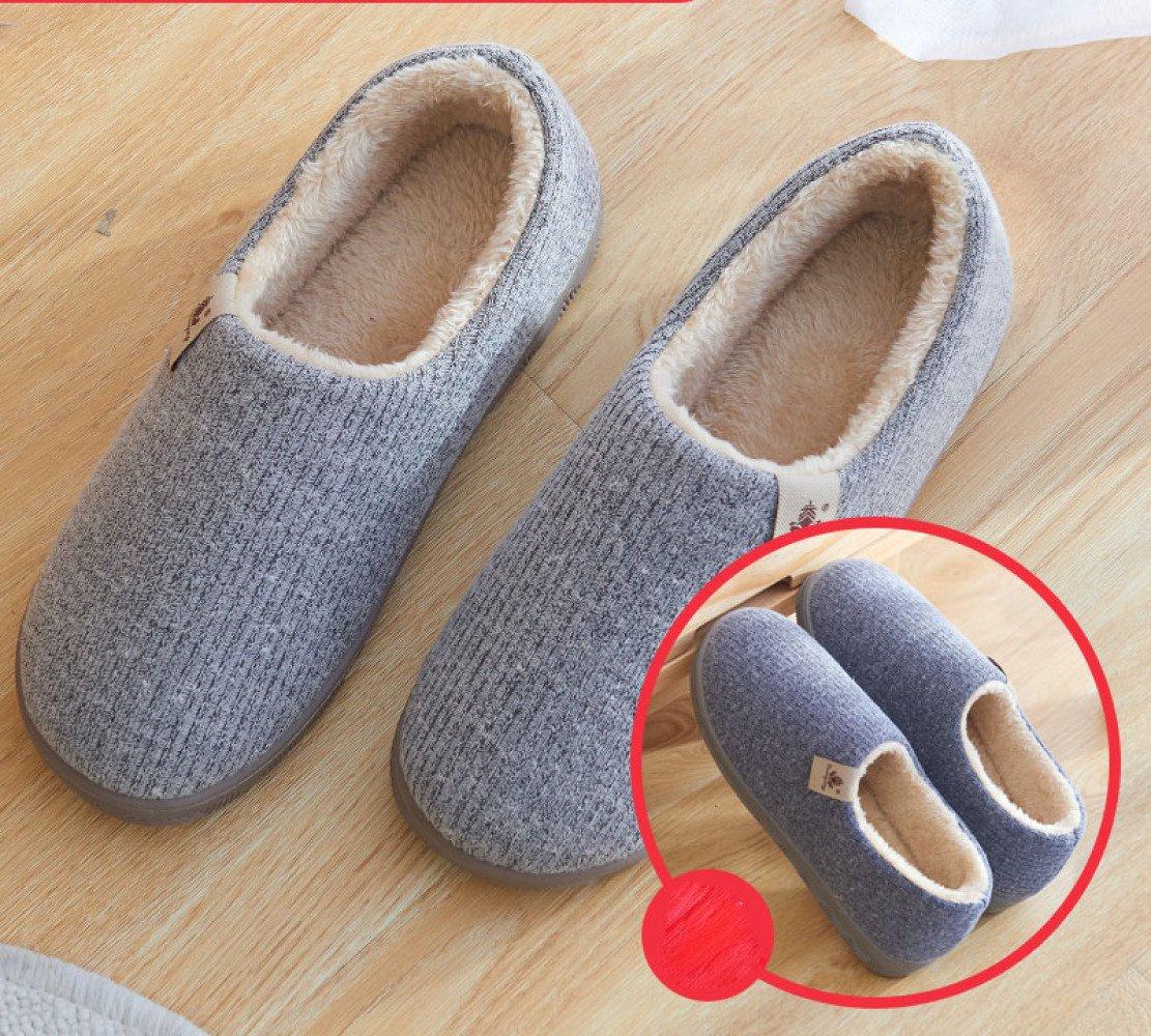 LIGUQI@ Baumwolle Hausschuhe Frauen Winter Indoor Hause Paar Dicke Warme Plüsch Monat Schuhe Männer Grau