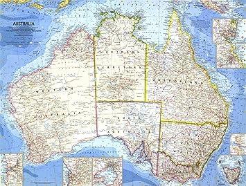 National Geographic: Australia 1963 - Serie histórica de mapas de pared, 25 x 18.75 pulgadas - Laminado: Amazon.es: Oficina y papelería