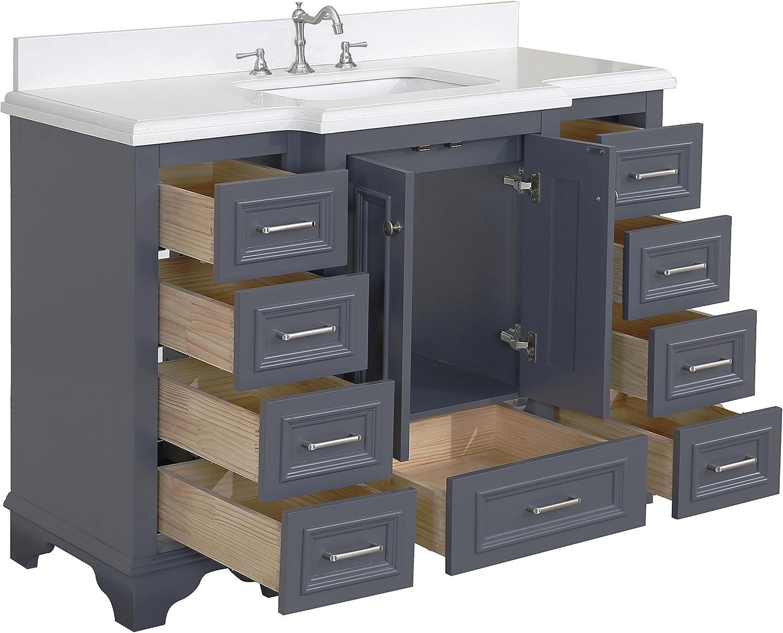 Includes Charcoal Gray Cabinet With Stunning Quartz Countertop And White Ceramic Sink Quartz Charcoal Gray Nantucket 48 Inch Bathroom Vanity Bathroom Sink Vanities Accessories Tools Home Improvement Fcteutonia05 De