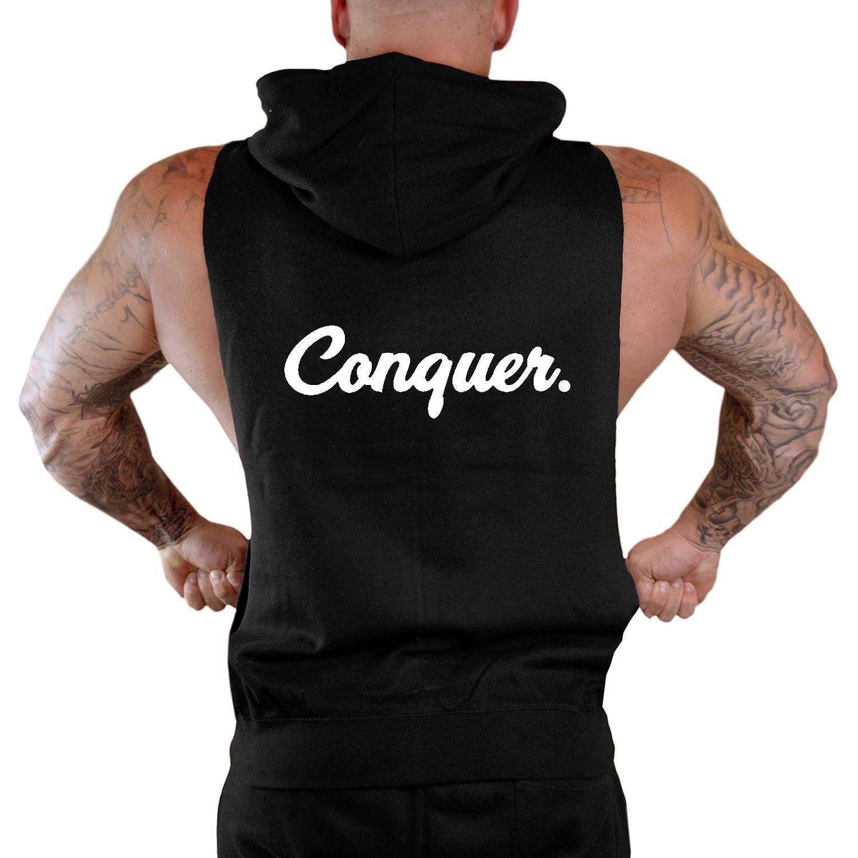 Mens Conquer Signature Workout Fitness Sleeveless Zipper Hoodie V284