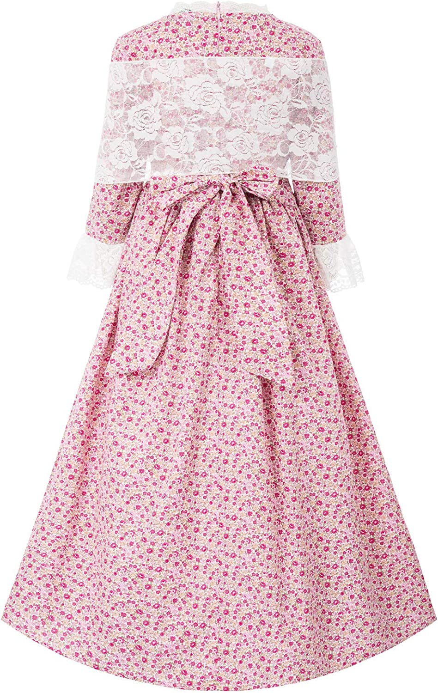Colonial Girls Dresses 19ths Prairie Pioneer Pilgrim Costume Size 6Y-12Y