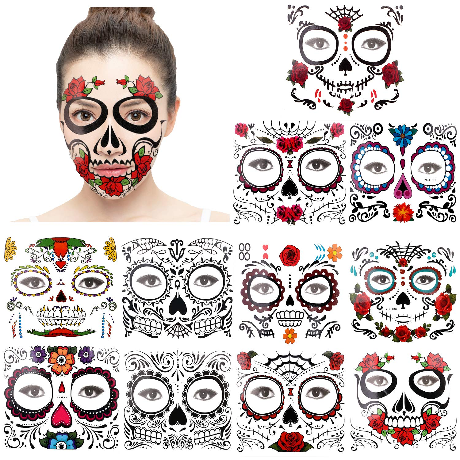 Halloween Face Tattoos (11 Pack), Howaf Day of the Dead Sugar Skull Floral Red Roses Black Skeleton Web Full Face Mask Tattoo for Women Men Adult Kids Masquerade Halloween Party Favor Supplies