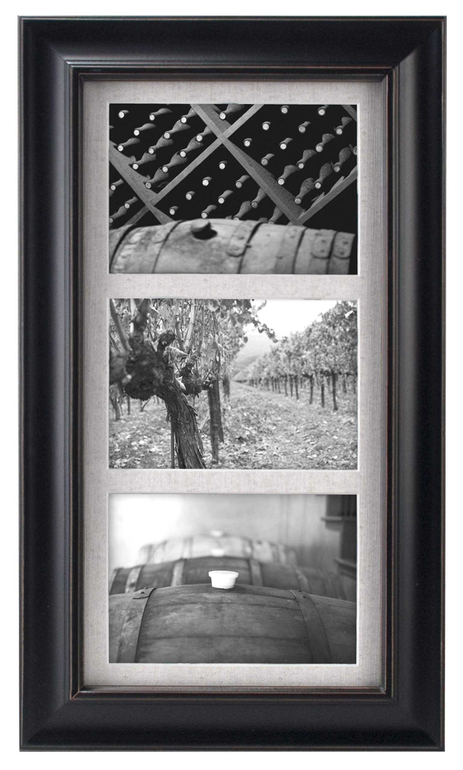 Malden International Designs Barnside Textured Mat 3-Opening Picture Frame, Holds 5 by 7-Inch Picture, Black by Malden International Designs