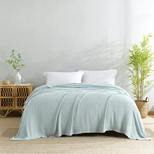 HORIMOTE HOME 100% Bamboo Viscose Throw Blanket King Size, Cooling Blanket for Hot Sleepers, Silky Soft Summer Blanket to Keep Cool, Textured Woven Light Blue Throw for Bed, Couch, Travel, Sofa