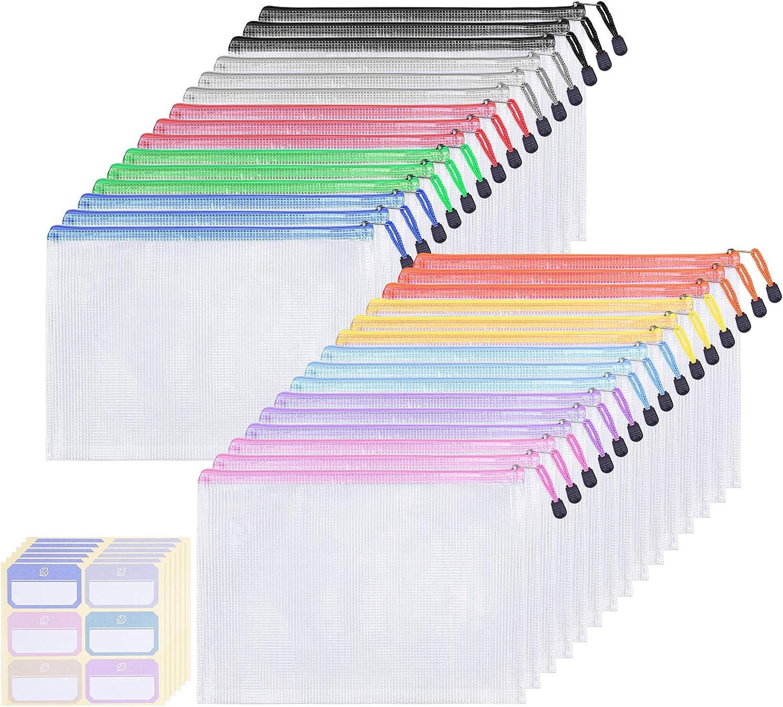 Homeweeks 30 Pack 10 Colors Zipper Pouch, Mesh Zipper Pouch Document Bag, Plastic Zipper Pouches File Folders Letter Size/A4 Size for Office Supplies Cosmetics Travel Storage