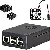 3 en 1 kits para Raspberry Pi 2, Pi 3 modelo B, ABS negro Caja + ventilador + dos disipadores de calor