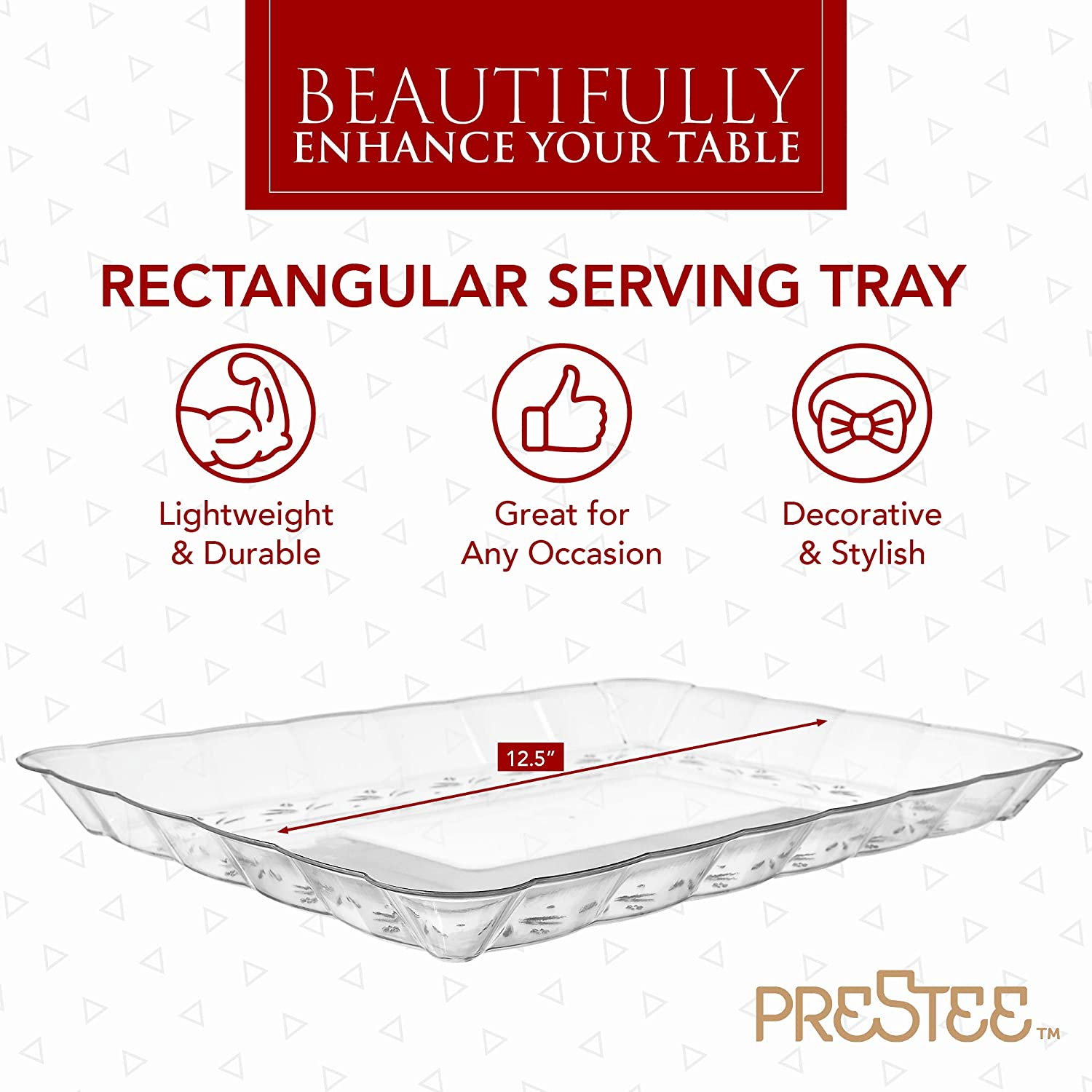 "| Plastic Serving Trays – Serving Platters | 12 Pack, 9""X13"" 