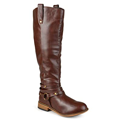 0ae43fe4c59b Journee Collection Womens Regular Sized and Wide-Calf Ankle-Strap Knee-High  Riding