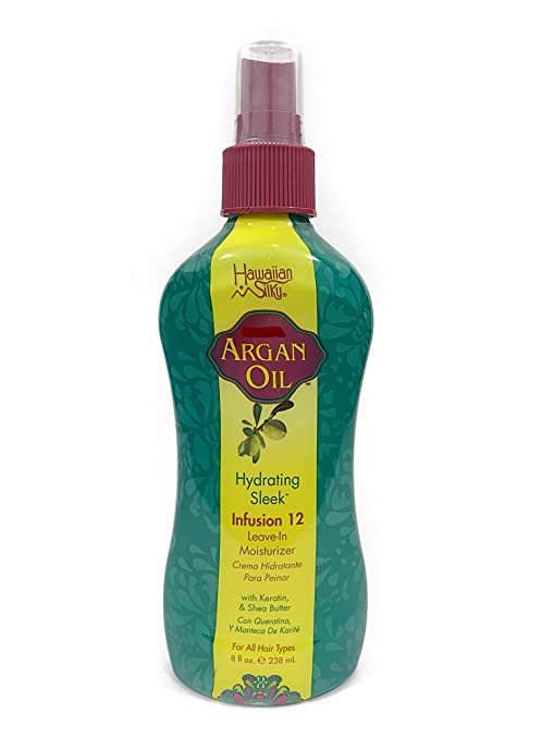 Amazon.com : Hawaiian Silky Argan Oil 12 Benefits Infusion Leave-In Conditioner - Keratin, Vitamin E & Shea Butter Enriched Moisturizer 12 fl oz - Good On ...