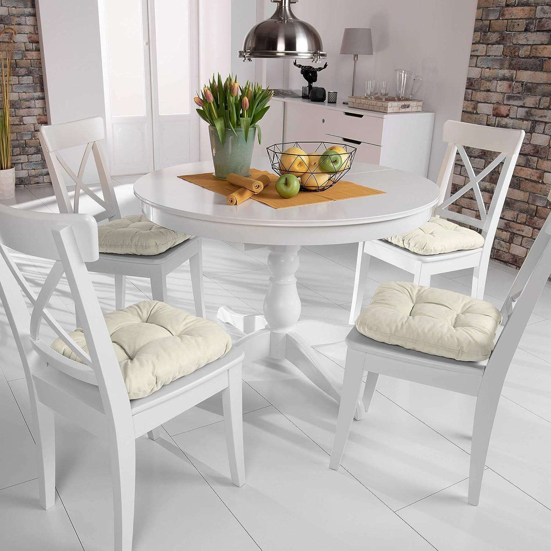 40x40cm Extra Doux et Confortable d/écoratif Nature Beautissu Lot de 4 Galettes de Chaise Coussins matelass/és Lisa