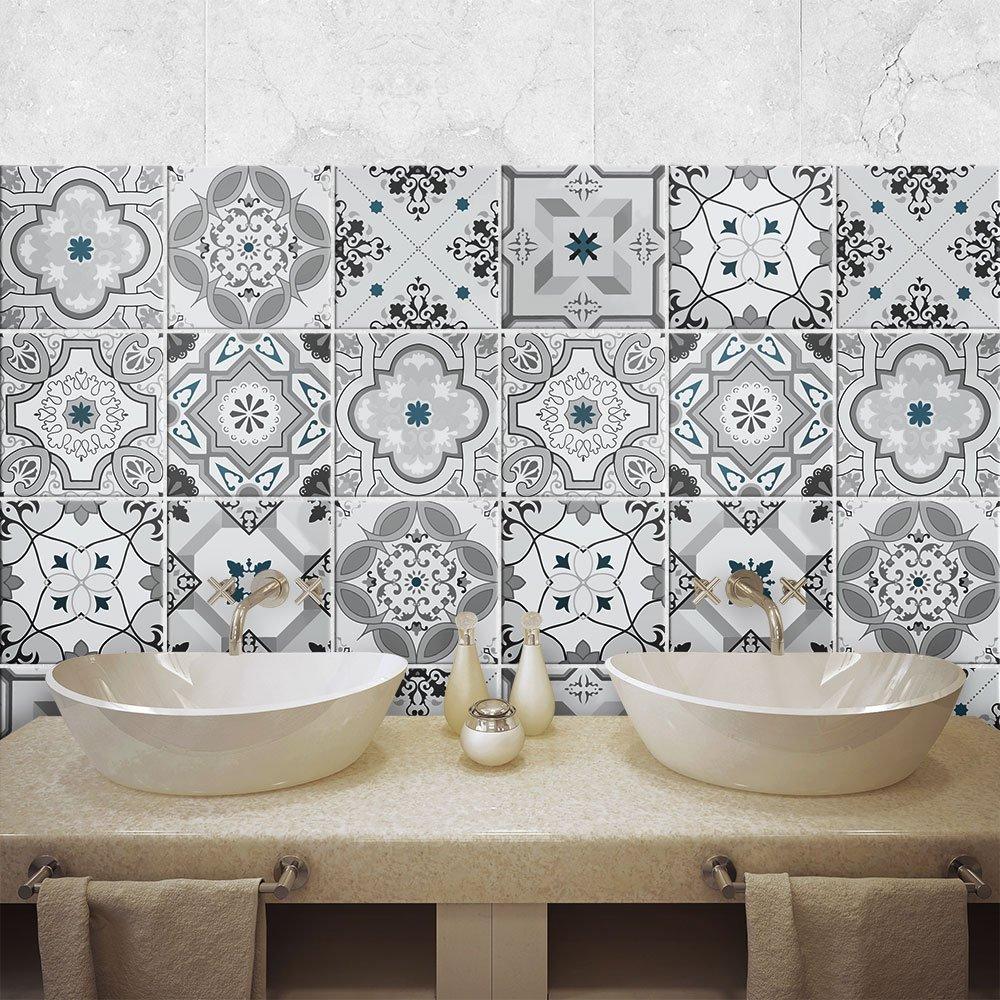 PS00095 Piezas Adhesivo para Azulejos 10x10 cm Adhesivo Decorativo para Azulejos para ba/ño y Cocina Damasco Collage de Azulejos 54 Stickers Azulejos
