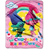 "DreamWorks Trolls Cupcakes and Rainbows 46"" x 60"" Micro Raschel Throw"