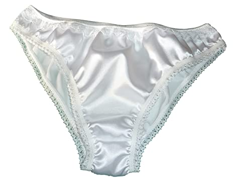François de Loire Shiny Satin and lace Bikini Briefs Panties Knickers Ivory  Sizes XS to XXL  Amazon.co.uk  Clothing 65e7a4928