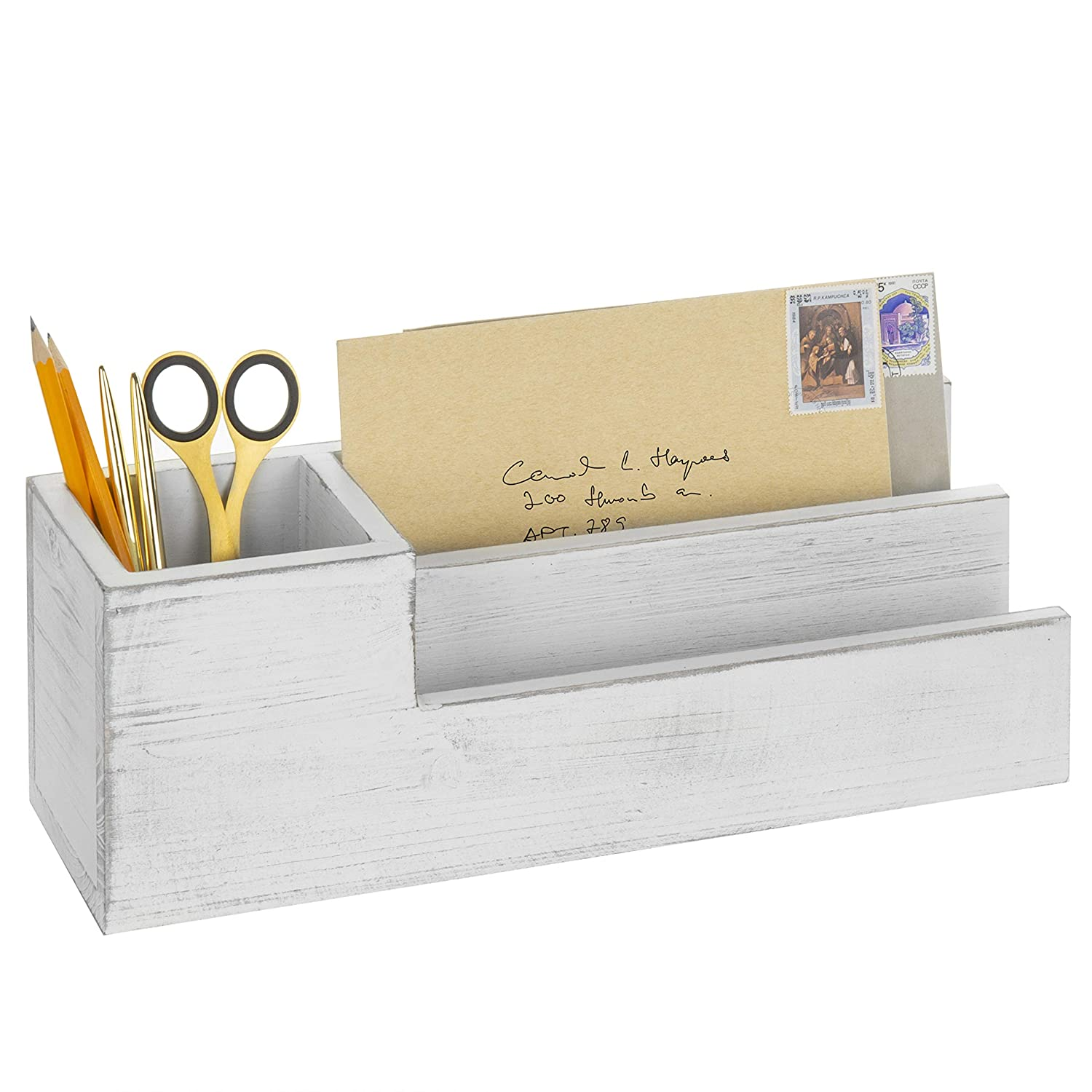 MyGift Vintage White Wood Desktop Pen Caddy & Letter Sorter