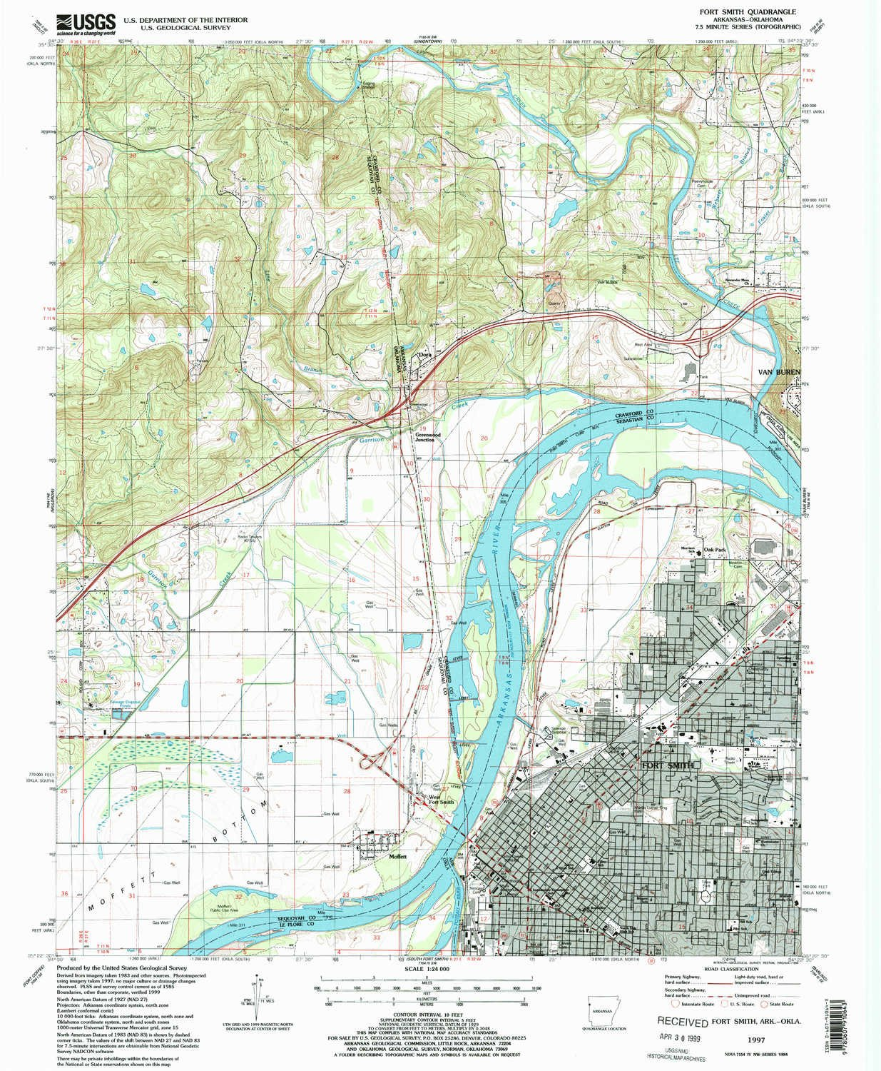 Amazon.com : YellowMaps Fort Smith AR topo map, 1:24000 Scale, 7.5 X ...