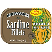 BRUNSWICK Wild Caught Sardine Fillets in Mustard and Dill Sauce, 3.75 Ounce Cans (Pack of 18), Canned Sardines, High…