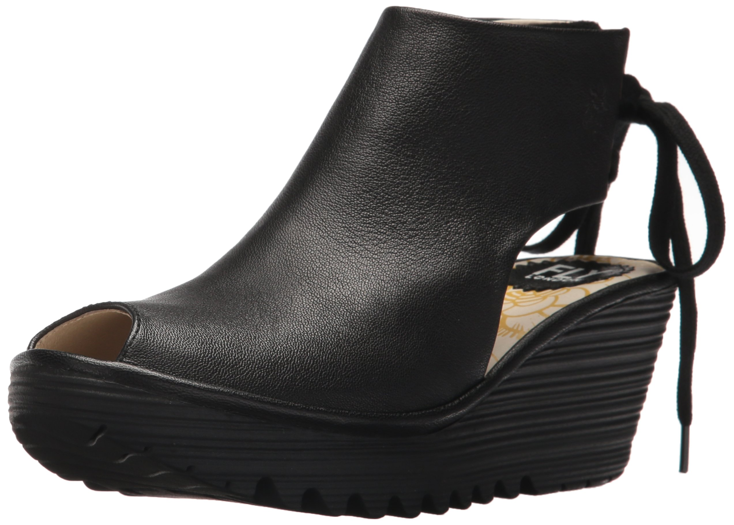 FLY London Women's Yuzu800fly Wedge Sandal, Black Mousse, 40 M EU (9-9.5 US)