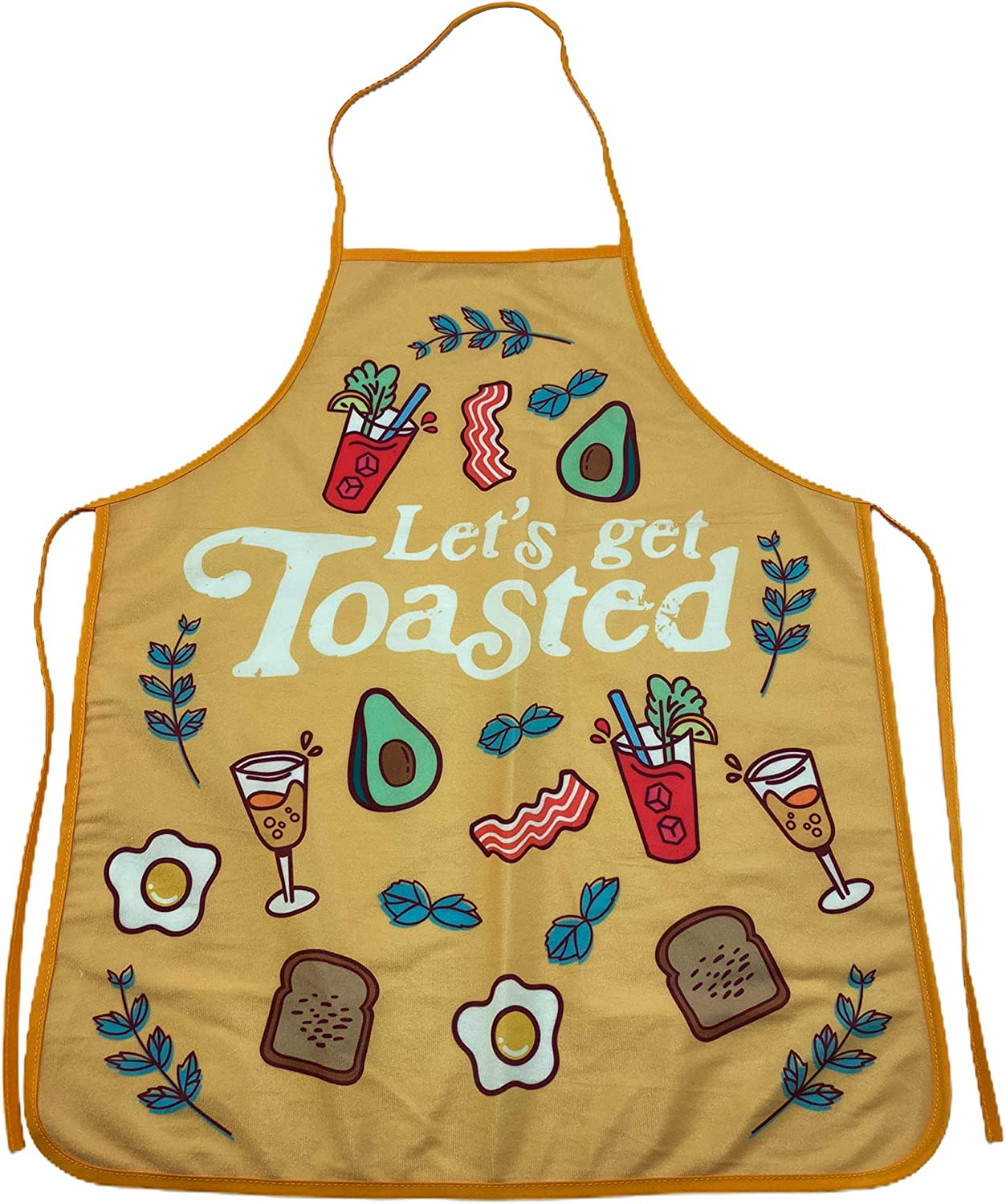 Crazy Dog T-Shirts Let's Get Toasted Apron Funny Comfort Food Breakfast Bruch Graphic Novelty Kitchen Apron (Apron)